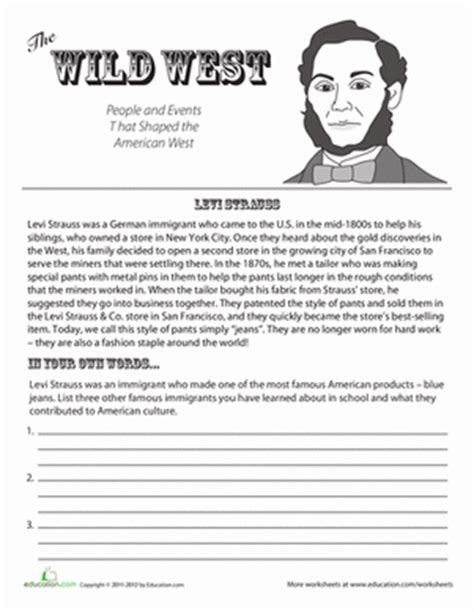 history worksheets for 4th grade levi strauss worksheet education