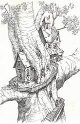Coloring Tree Treehouse Pages Magic Drawings Drawing Colouring Adults Sketchbook Fantasy Houses Sketches Printable Adult Sketch Fairy Sheets Worry Treehouses sketch template