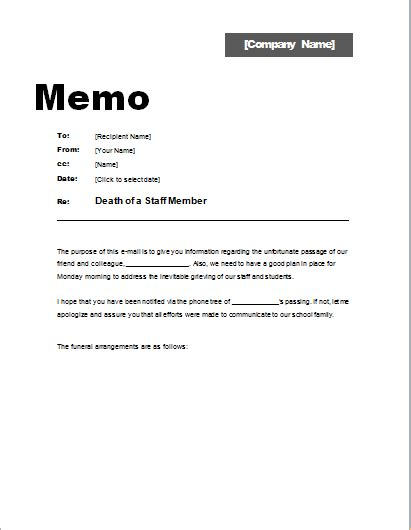 timeline memo template memo about death of a staff member word excel templates