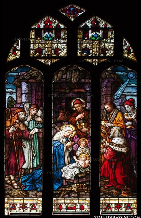 large nativity religious stained glass window