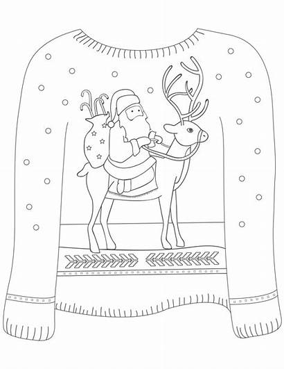 Coloring Sweater Ugly Christmas Santa Reindeer Colouring