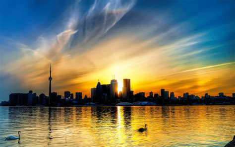 sensational sunset  toronto canada widescreen