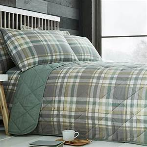 Brushed, Cotton, Naughton, Check, Bedspread