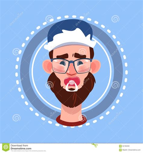 Male Portrait Avatar Icon With Boy Face Cartoon Vector