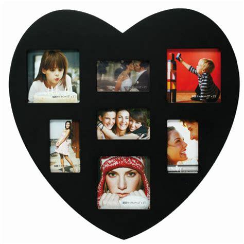 accroche ustensiles de cuisine cadre photo coeur en bois avec 7 emplacements photo