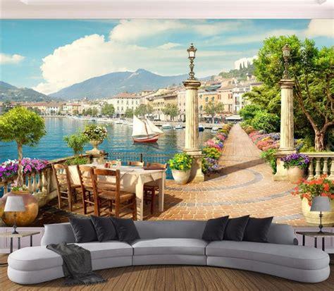 wallpaper custom photo mural garden balcony town lake