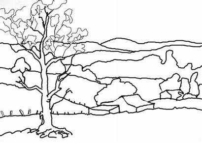Landscape Drawing Line Drawings Landscapes Outline Perspective