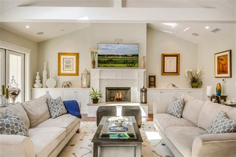 Pretty Modern Classic Living Room with Stone Fireplace Design