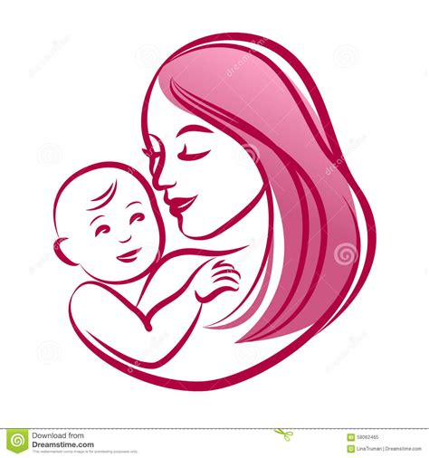 mother   baby outline vector silhouette mother