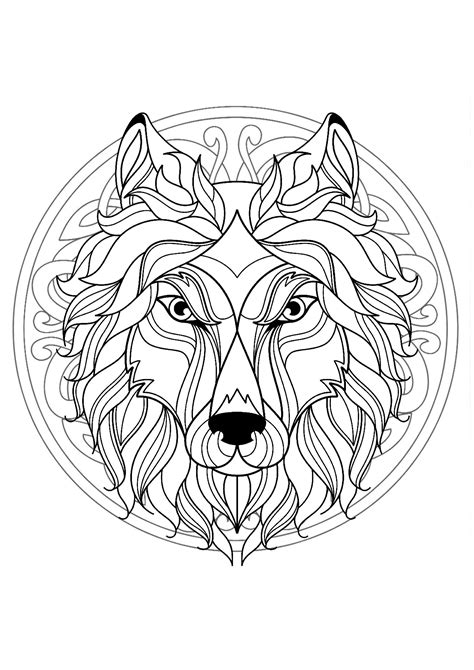 mandala  beautiful wolf head  interlaced patterns malas adult coloring pages
