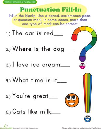 Punctuation Mark Exercises  Punctuation  Punctuation, Punctuation Worksheets, Worksheets