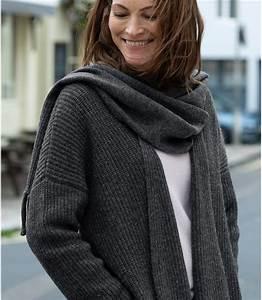 Echarpe Femme Laine : anthracite manteau cardigan col charpe femme laine d 39 agneau woolover fr ~ Nature-et-papiers.com Idées de Décoration