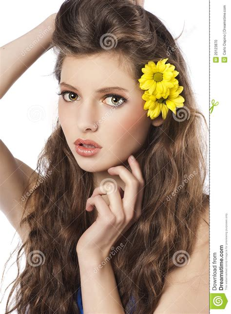 Fresh Girl With Yellow Flower In Hair Stock Photo Image