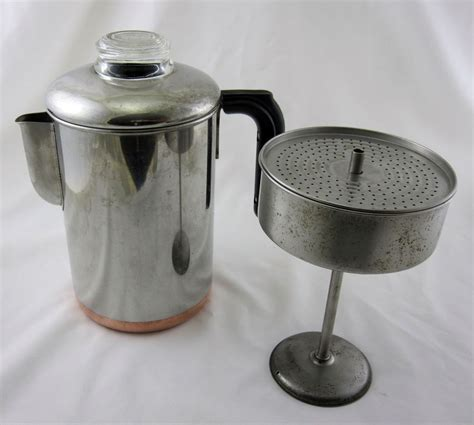 revere ware copper clad stainless stove top coffee pot percolator vintage vintage cookware