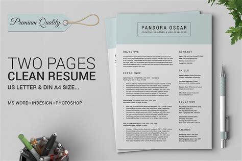 2 pages clean resume cv pandora resume templates