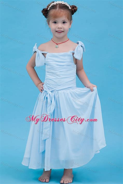 Baby Blue Off The Shoulder Chiffon Ruched Flower Girl