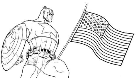 mewarnai gambar captain america dan bendera america