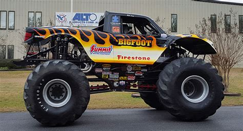 monster truck bigfoot video bigfoot monster truck visits local company that keeps it
