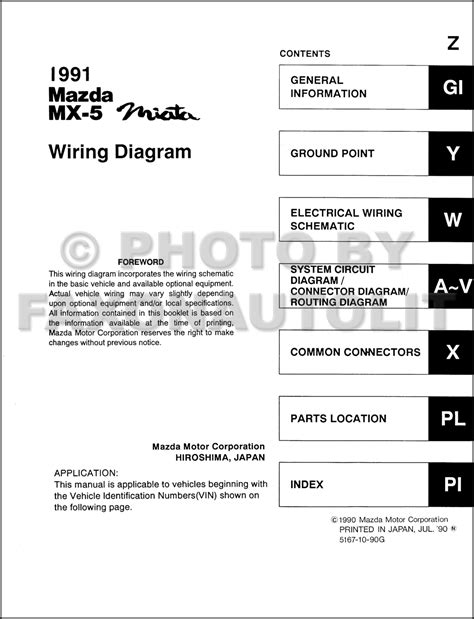 Mazda Miata Wiring Diagram Manual Original
