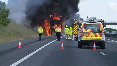Dramatic Images Doubledecker Bus Fire Closes A Stretch