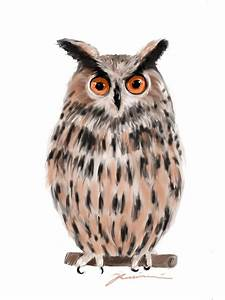 Owl White Background Painting by Jean Pacheco Ravinski