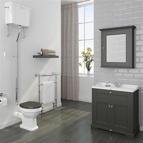 traditional bathroom tile ideas downton traditional vanity unit 800mm wide charcoal