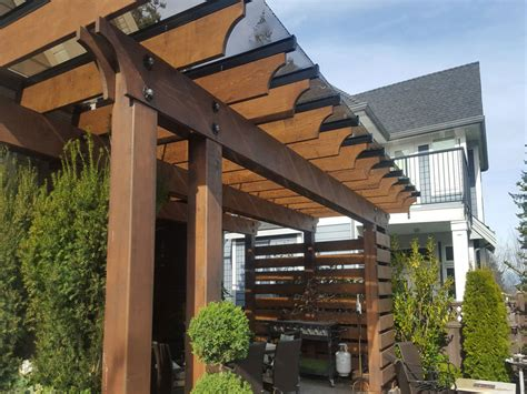 pergolas roof with glass tile will protect outdoor furniture