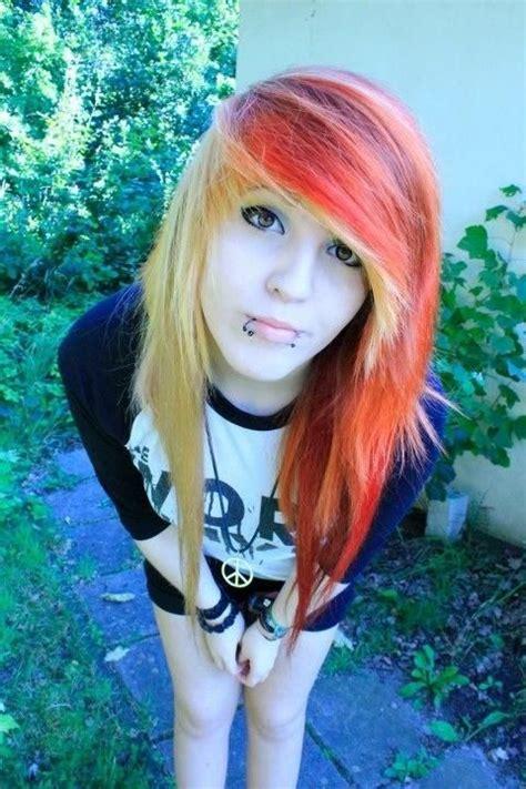 Orange Hair Half And Half Yellow Hair Scene Girl Colorful