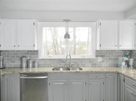 grey subway tile kitchen our oak kitchen makeover gray subway tiles white cabinets and subway tiles