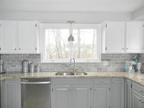 our oak kitchen makeover gray subway tiles white