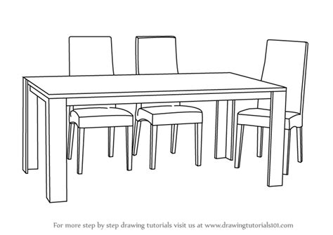 dining table with food clipart black and white learn how to draw dining table with chairs furniture