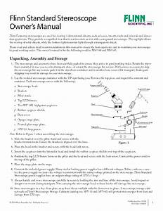 Flinn Standard Stereoscope Owner U2019s Manual