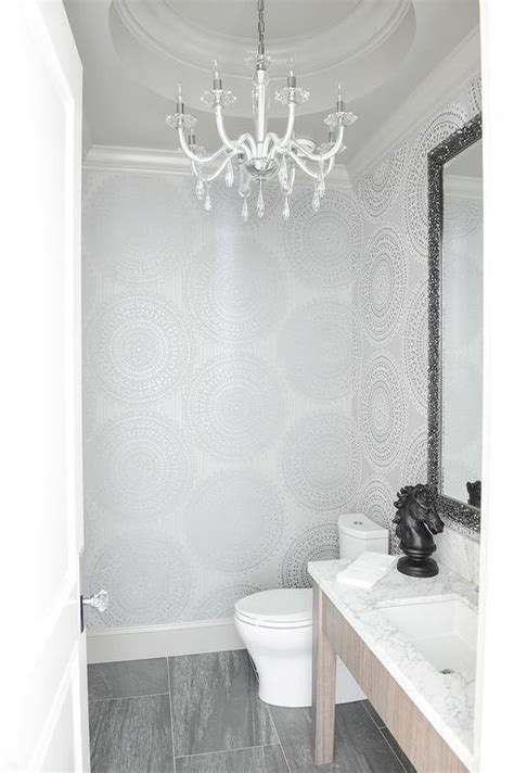 Silver Powder Room with Round Tray Ceiling - Transitional