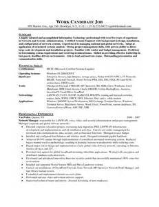 It Systems Administrator Resume by Sle Resume For Vmware Sle Resume