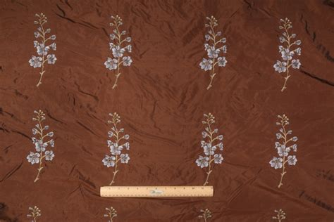 Polyester Drapery Fabric - embroidered polyester drapery fabric in espresso