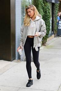 The Celebrity Outfits That Make Leggings Look High-End | Hailey baldwin Nike shoe and Yoga