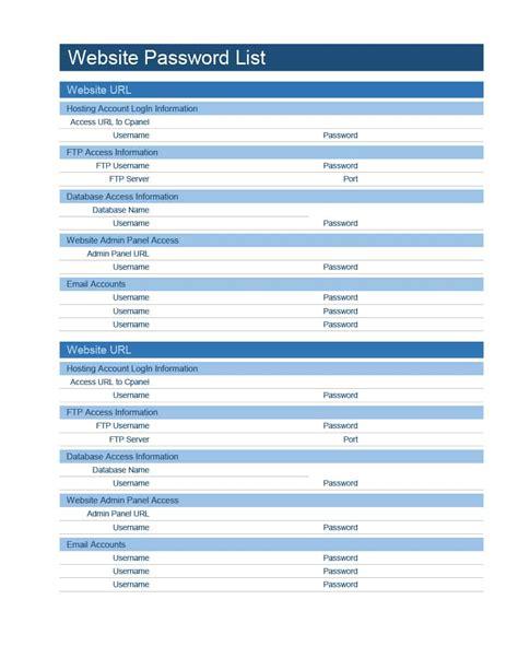 address card template word 39 best password list templates word excel pdf ᐅ