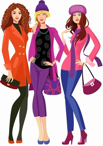 Shopping Woman Clipart Cartoon Runway Going Together