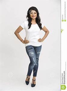 Indian Beautiful Woman In Standing Pose Stock Photo ...