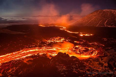 volcanic lava flow in russia nature picture