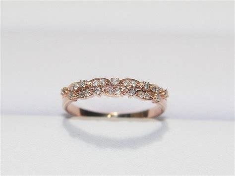 Unique Wedding Band14k Rose Gold Diamond Ring Half