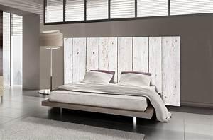 Bois De Lit : t te de lit bois blanc motif lambris mds ~ Teatrodelosmanantiales.com Idées de Décoration