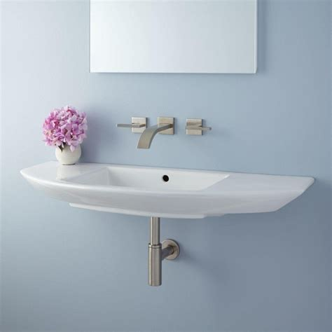 Small Wall Mounted Bathroom Sink by Narrow Small Wall Mount Bathroom Sink Installation
