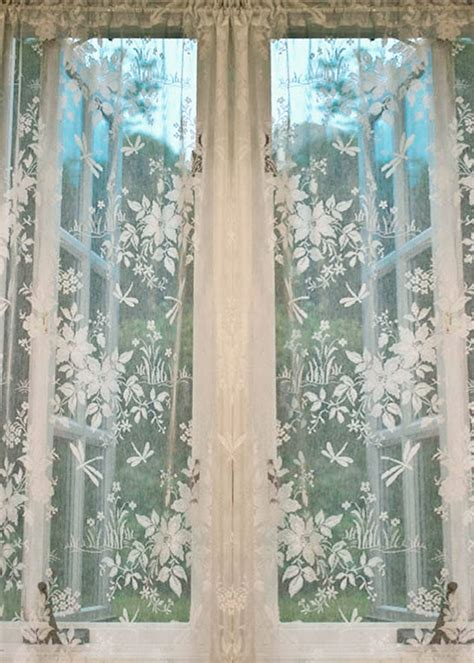 Lace Drapery Panels by Dragonfly Nottingham Lace Curtain Yardage Direct From