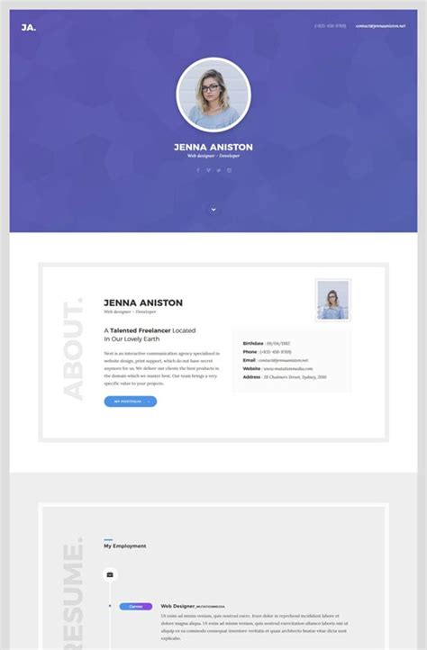 vcard template free 45 best best html resume cv vcard templates free premium