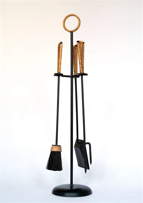 Mid Century Modern Wrought Iron Fireplace Tools With Woven