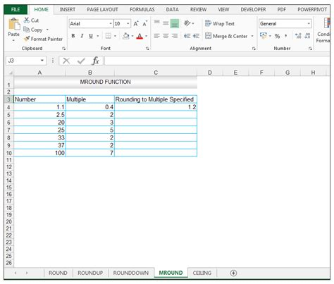 excel ceiling function significance roundup rounddown mround ceiling functions in