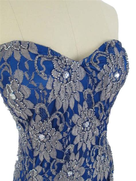 strapless beaded silver lace royal blue evening gown