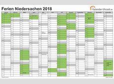 Ferien Niedersachsen 2018 Ferienkalender zum Ausdrucken