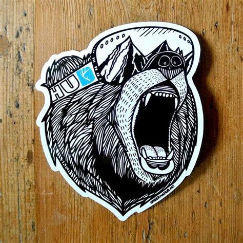 bear vinyl sticker snowboard sticker adventure